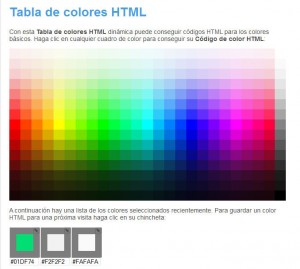 Tabla colores HTML